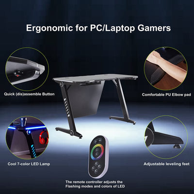Z Ergonomic Gaming Desk RGB LED Lights Quick (dis)assemble Workstation Table