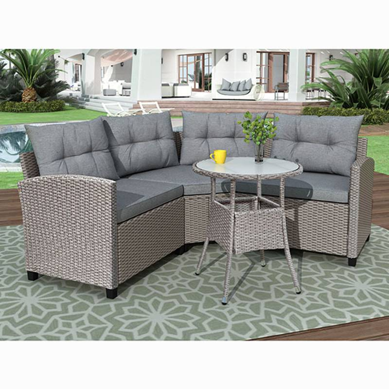 4 Pcs Resin Wicker Patio Furniture Set with Round Table and Gray Cushions