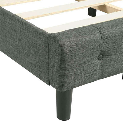 Grey Platform Bed Frame Tufted Headboard Upholstered Twin/ Queen Size