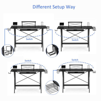 47 Inch Black Gaming Desk E-sports Computer Table Pc Stand Shelf Keyboard Stand Power Strip with Usb Cup Holder & Headphone Hook for Home Office