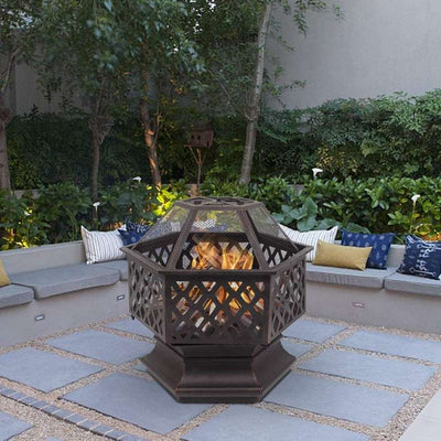 Garden Wood Charcoal Hexagonal Fire Pit Black Steel Patio Heater Burner BBQ 62.5*62.5*57.5cm