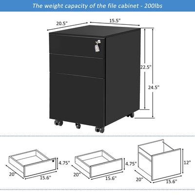 File Cabinet Metal Lockable Storage Cabinet with Wheel 3 Drawers