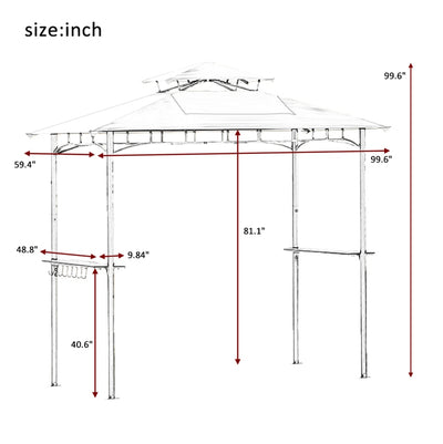 Outdoor Patio Tent 8.3 ft x 5 ft Waterproof Compact Garden Beach Camping