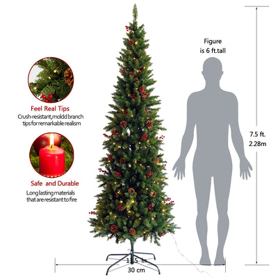 7.5FT Artificial Slim Christmas Tree with Cones and Berries Foldable Metal Stand