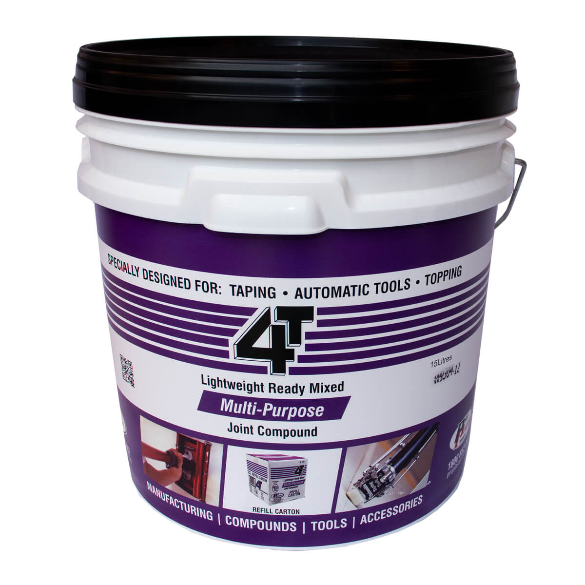 4T Multi Purpose White Bucket 15L (Black Lid)