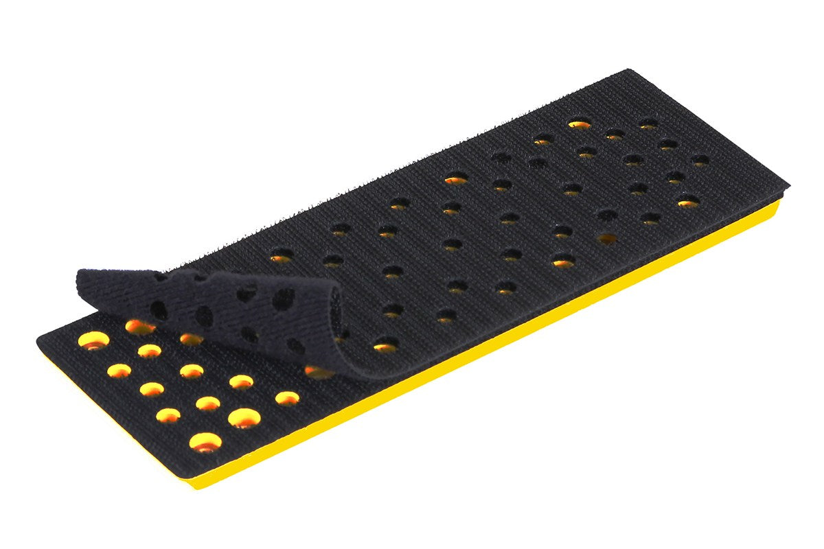 Grip backing pad for electric orbital sanders.