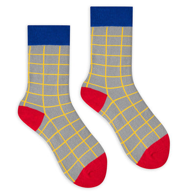 Grey Grid Crew Socks