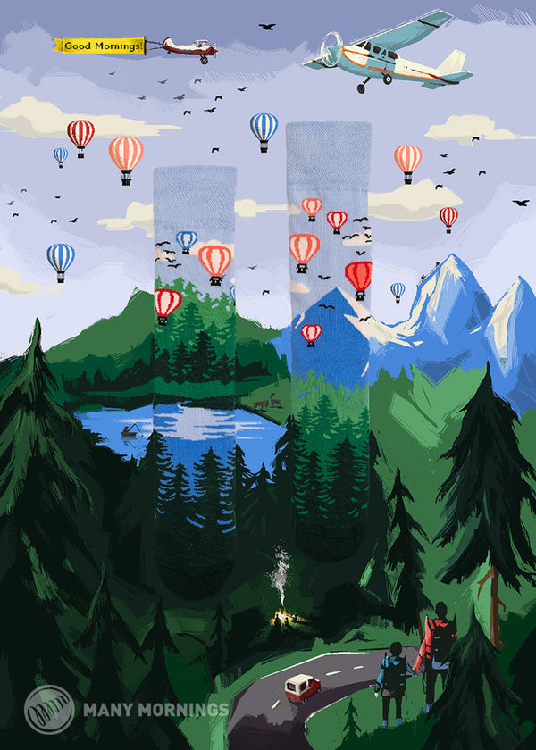 Pairpairfull - Many Mornings Adventure Balloon Mismatched Socks merged into artwork - amazing scenes with hot air balloon planes sky and mountain forest and hikers
