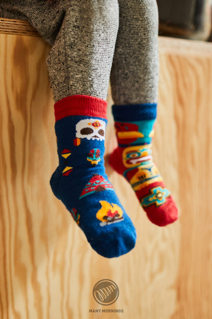 Pairpairfull - Many Mornings Apache Tribe Mismatched Socks for Kids - wildfire totem skeleton mexico