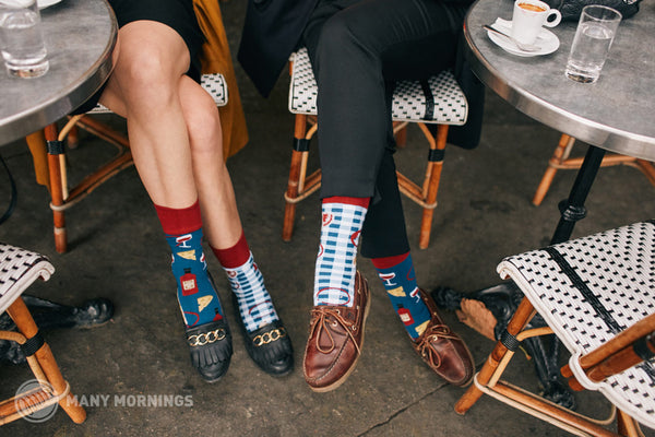 Pairpairfull - Many Mornings Bonjour France Mismatched Adult Socks with Cheese Wine Picnic Mat