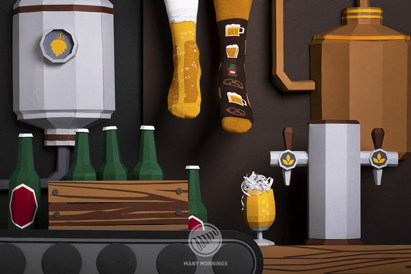Pairpairfull - Many Mornings Craft Beer Mismatched socks available for Adults