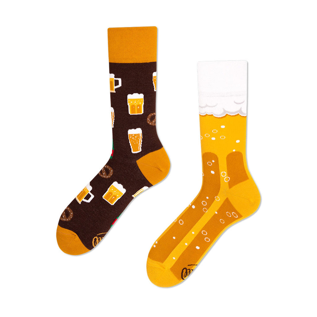 Pairpairfull - Many Mornings Craft Beer Mismatched Socks for Adults with pints and coffee and pretzels in brown and yellow packshot