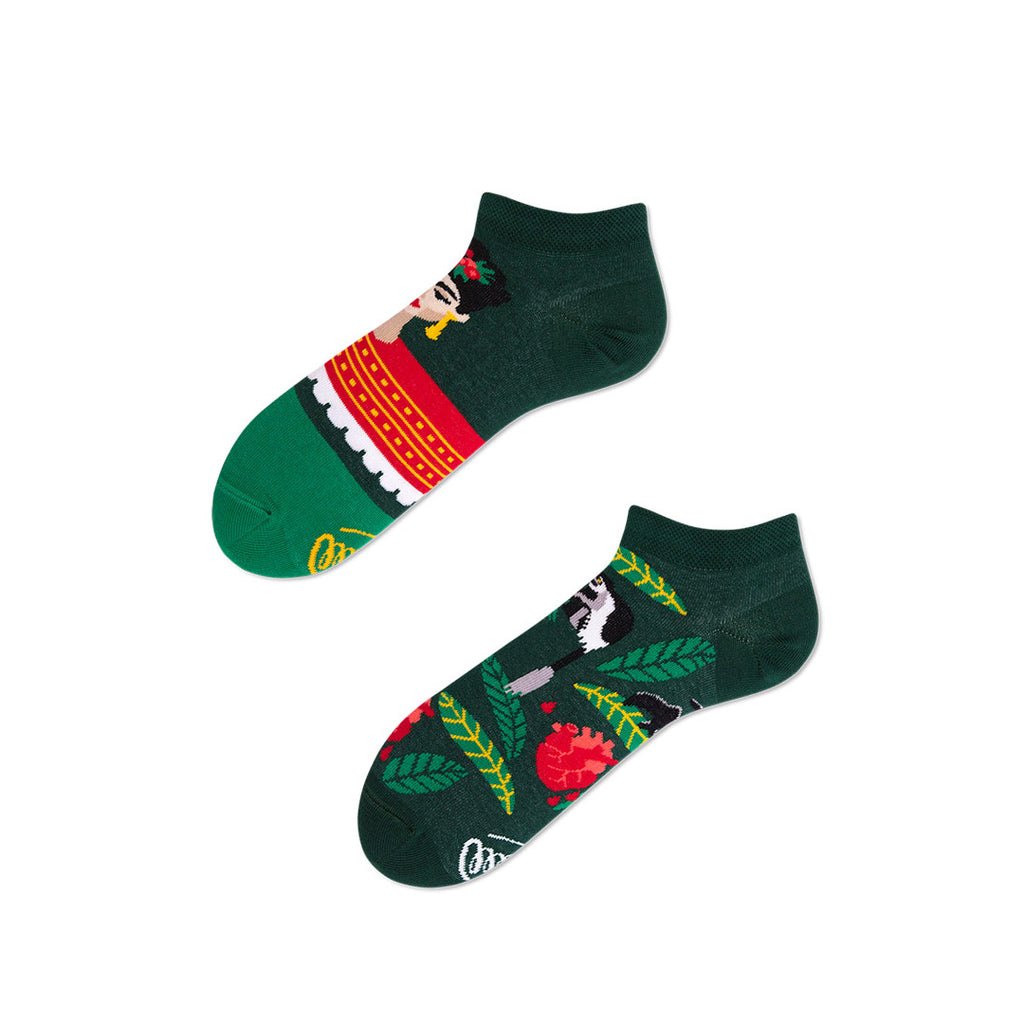 Pairpairfull - Many Mornings Feel Frida Mismatched Low Socks for Adults with Frida Kahlo portrait and tropical leaves in green packshot