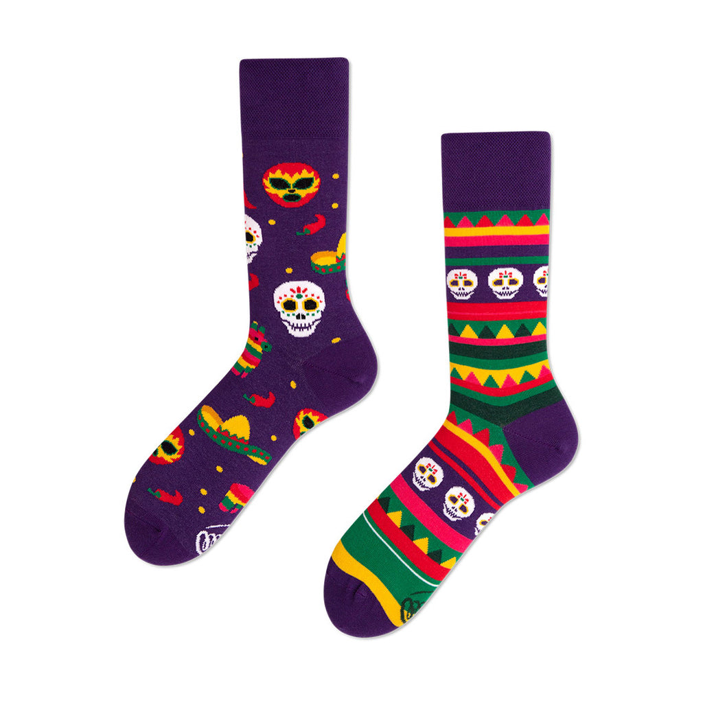 Pairpairfull - Many Mornings Fiesta Mexicana Mismatched Socks for Adults with skulls, hats, chili, pepper, masks, and tribes pattern in purple packshot