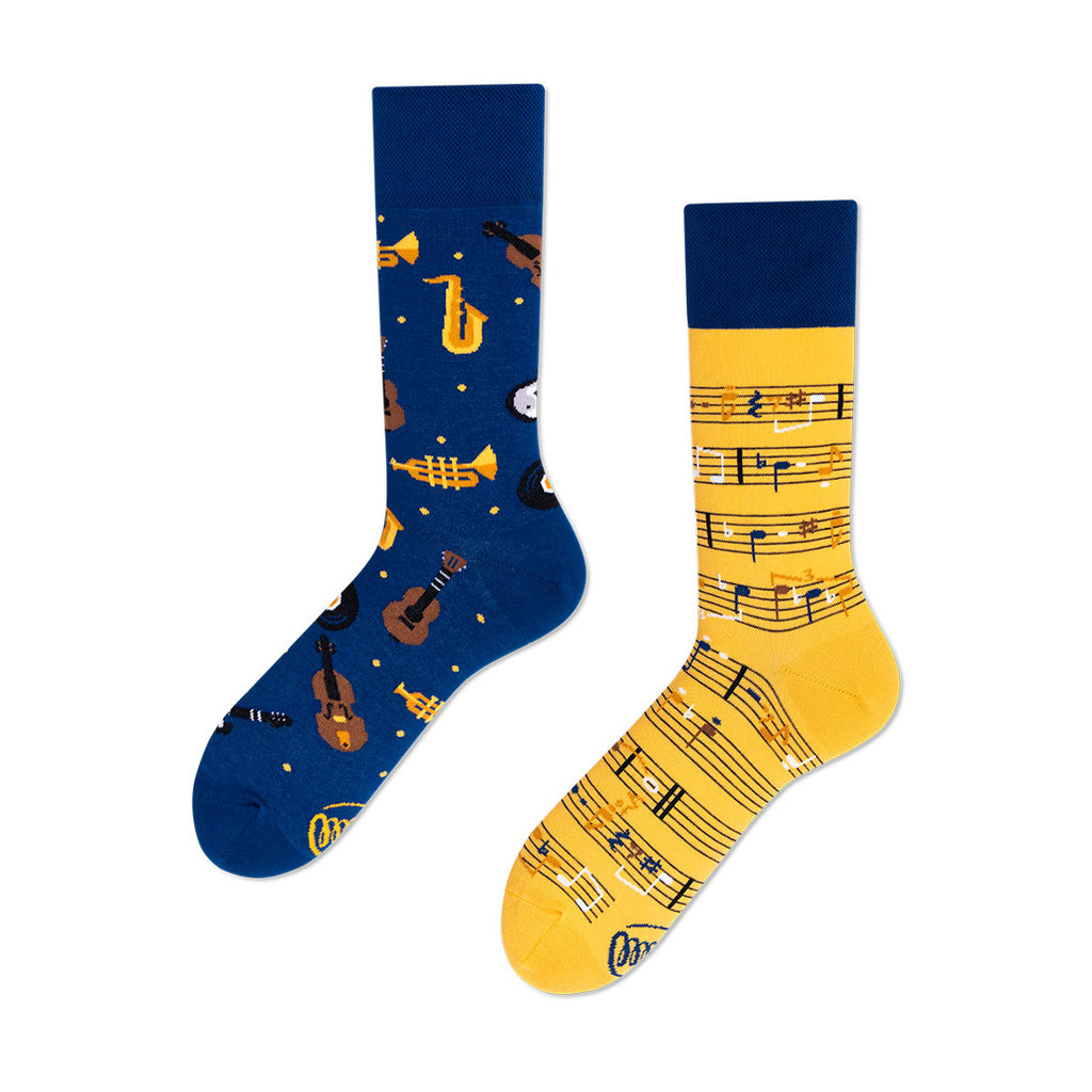 Pairpairfull - Many Mornings Music Notes Mismatched Socks for Adults with Music Scores and Instruments Trumpets Saxophones Guitar Violin in Navy & Yellow Packshot