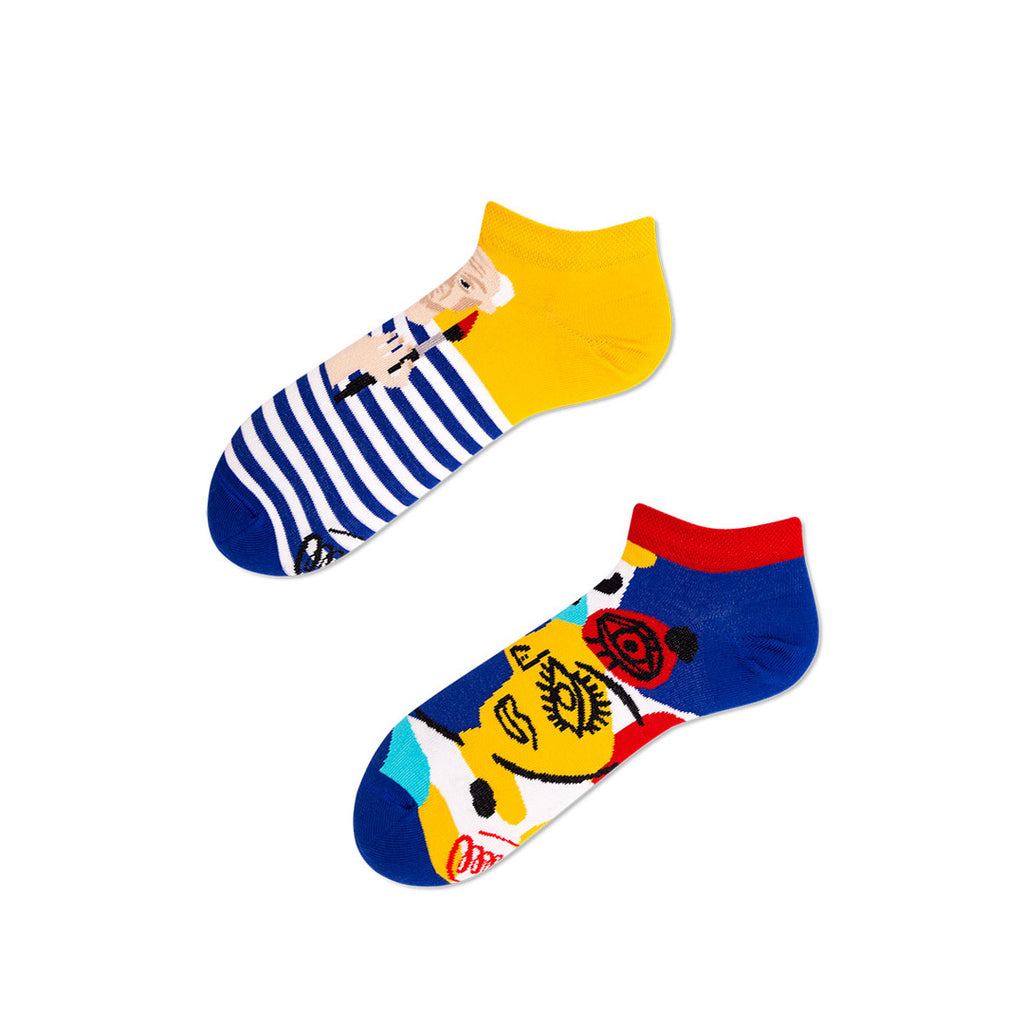 Pairpairfull - Many Mornings Picassocks Mismatched Low Socks for Adults with Pablo Picasso Portrait and Cubism Portrait Symbols in Pop Art Colors Blue Red & Yellow Packshot