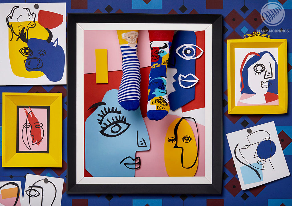 Pairpairfull - Many Mornings Picassocks Mismatched Socks for Adults featuring Pablo Picasso with Cubism portrait pop art paintings in paper art