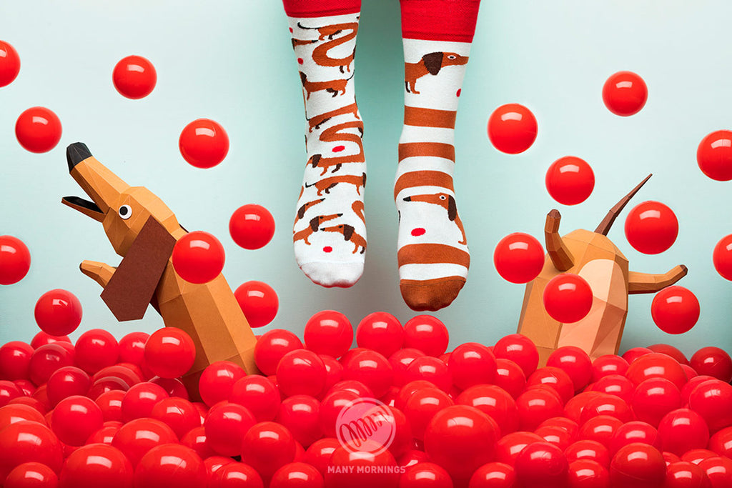 Pairpairfull - Many Mornings Sausage Dog Mismatched Socks for Adults with paper art Dachshund Dog, and red ball pool