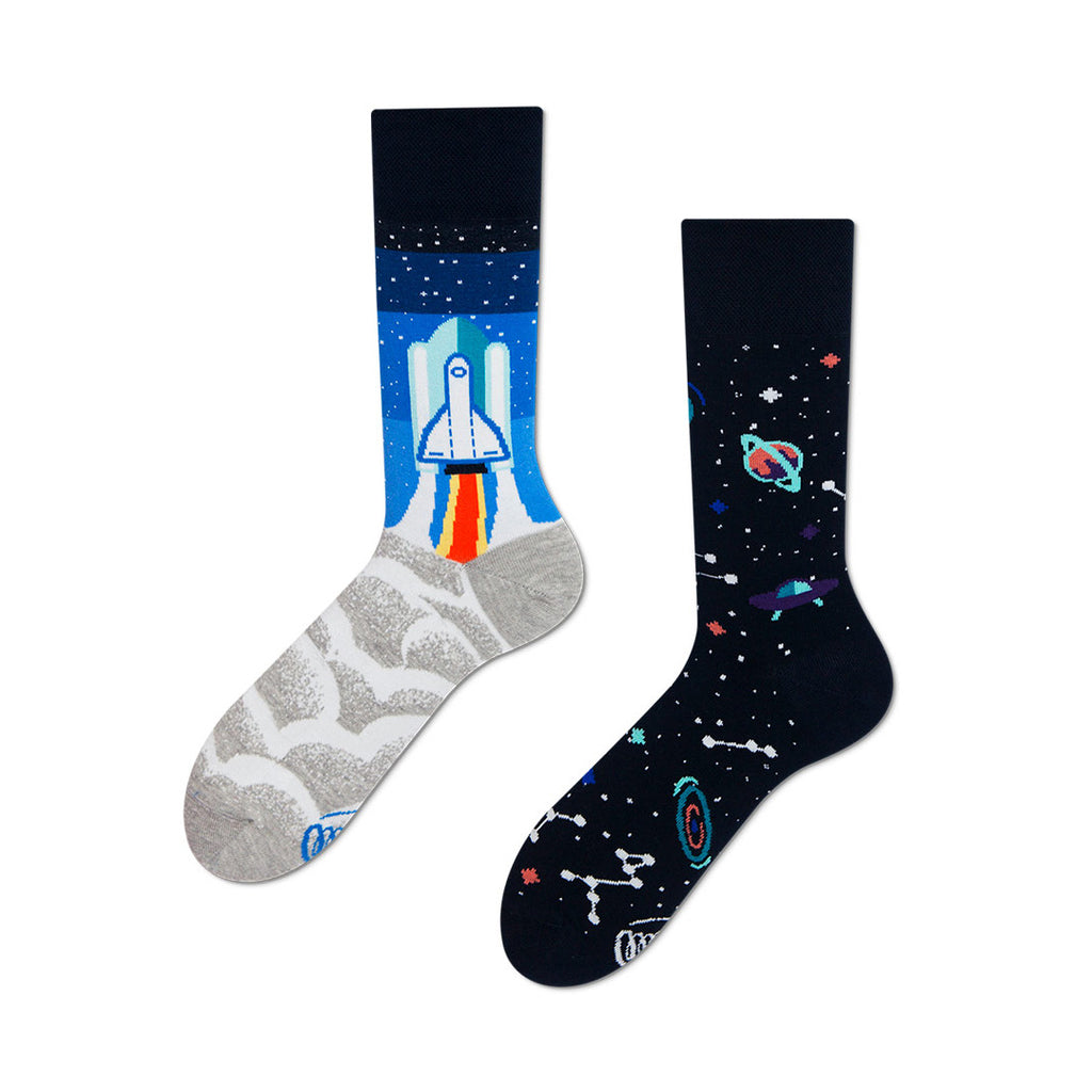 Pairpairfull - Many Mornings The Space Trip Mismatched Socks for Adults with launching spaceship and starry universe in blue grey and black packshot