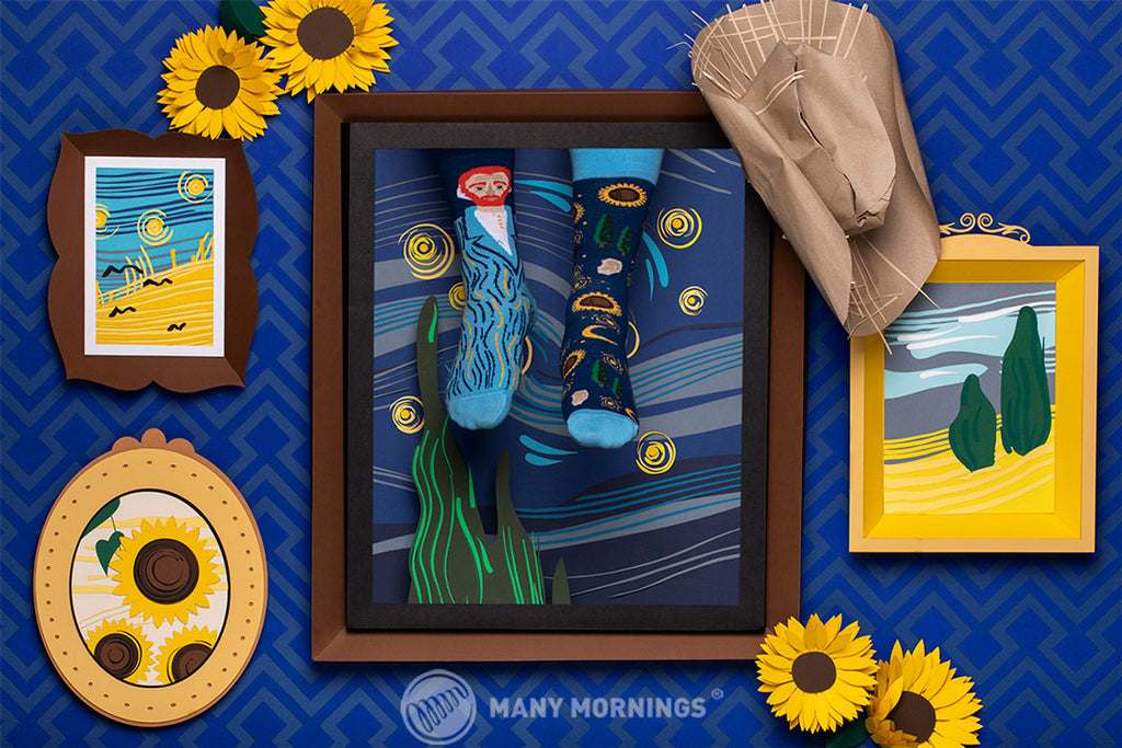 Pairpairfull - Many Mornings True Vincent Mismatched Socks for Adults featuring Vincent van Gogh the Starry Night, Sunflowers in paper art