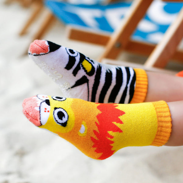 Lion & Zebra Toddler Socks