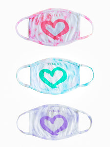 TIE DYE HEART FACE MASK • 3 PACK