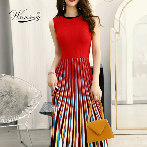2019 New multi Striped Sleeveless Bodaycon Dress Women Slim Fashion Pleated Casual Knitted Midi Dress Elegant Elastic C-170