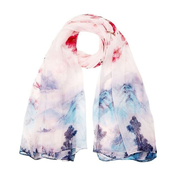 2019 High quality 100% mulberry silk scarf natural real silk Women Long scarves Shawl Female hijab wrap Summer Beach Cover-ups