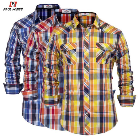PAUL JONES Men's Classic Western Plaid Shirt Casual Button Down Cotton Shirt Long Sleeve Slim Fit Curved Hem Shirt Tops PJAD1071