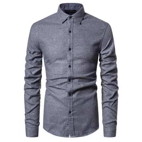 2020 New Spring Thick Social Shirt Men High Quality Cotton Mens Dress Shirts Slim Fit Casual Men Shirt Long Sleeve Soild Shirt