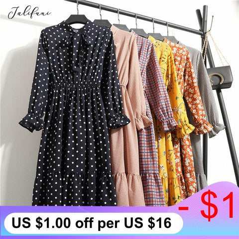 Women Casual Autumn Dress Korean Style Vintage Floral Printed Chiffon Shirt