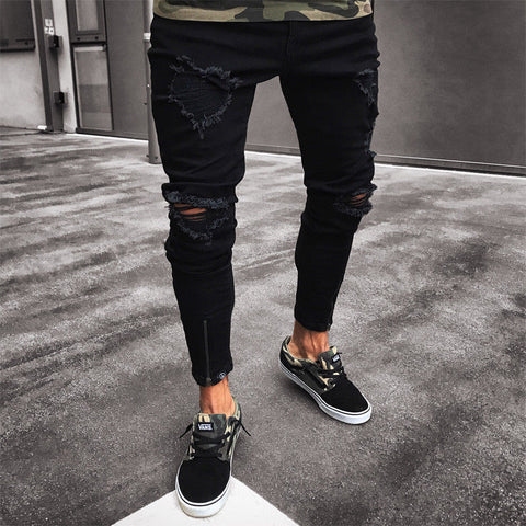 Men's Black Jeans Skinny Ripped Slim Fit Hop Hop Pants With Holes