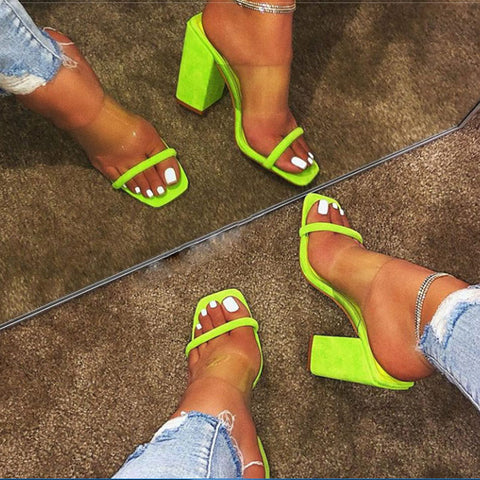 Women Sandals Transparent Sandals Ladies High Heel Slippers Candy Color Open Toes Thick Heel Fashion Female Slides Summer Shoes