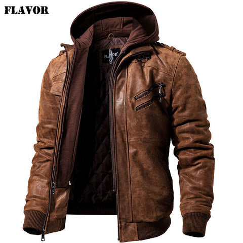 Men's Warm Genuine Leather Jacket Motorcycle Removable Hood winter coat