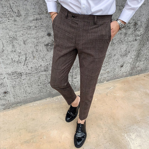 2020 autumn winter mens business casual pants brown plaid slim fit suit pants formal pant for man wedding groom wear long pants