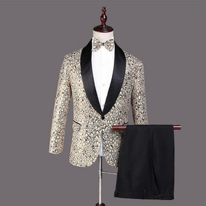 LASPERAL 2020  Men Classic Three-piece Suit Stage Suit Wedding Suits Embroidery Palace Latest Coat Pant Designs Costume