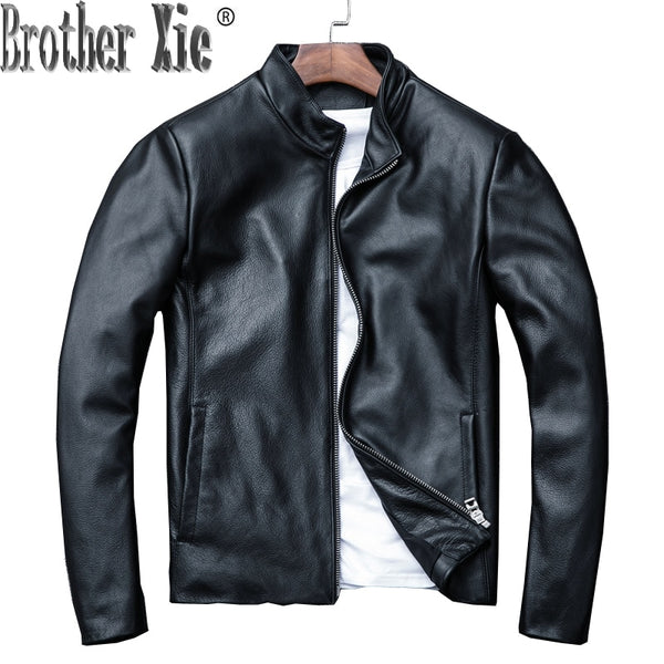 2020 New Genuine Leather Jacket Men Spring Autumn Real Cow Leather Coat Men's Jackets Casual Bomber Jacket KJ1310