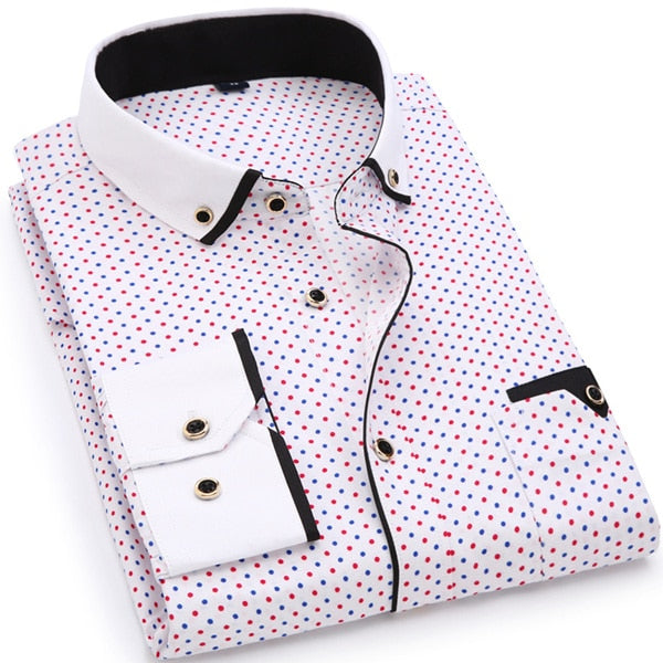 Fashion Print Casual Men Long Sleeve Shirt Stitching Fashion Pocket Design Fabric Soft Comfortable Men Dress Slim Fit Style 8XL