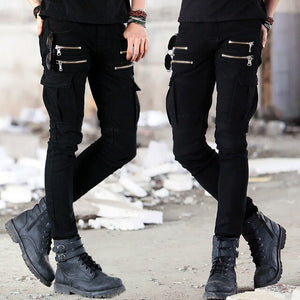 Green Black Denim Biker Jeans Mens Skinny 2020 Runway Distressed Slim Elastic Jeans Hip Hop Washed Skateboard Trouers Streetwear