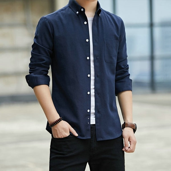 Men's Oxford Shirt Long Sleeve Oxford Shirt Men Pocket Black Casual Shirts Camisa Social Masculina StreetWear Korean Style Men