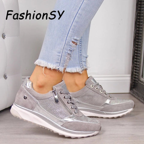 Women's Wedges Sneakers women Vulcanize Shoes Sequins Shake Shoes Fashion Girls Sport Shoes Woman Sneakers Shoes Footwear