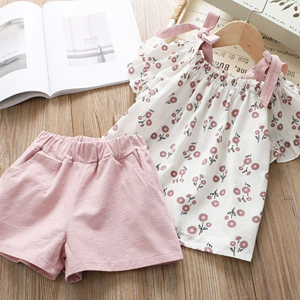 Bear Leader 2020 New Summer Casual Children Sets Flowers Blue T-shirt+  Pants Girls Clothing Sets Kids Summer Suit For 3-7 Years