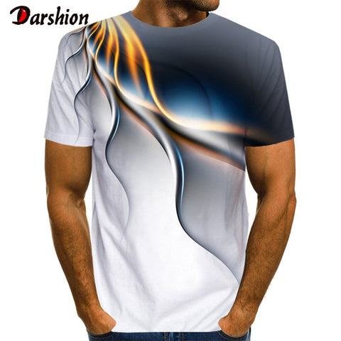 Popular Men Short Sleeve 3D Printed Lightning T-shirts