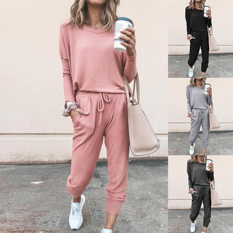 Women Elegant Pants Sets Female Casual Outfits Jogger Black Cotton Tracksuit