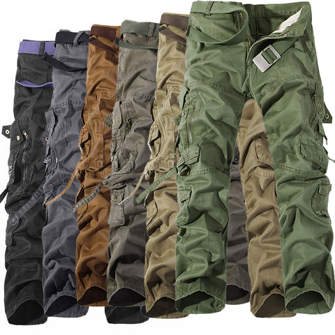 Military Tactical pants men Multi-pocket washed overalls men loose cotton pants