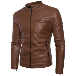 Men's Leather Jackets , Stylish Solid Color Slim Men's PU Leather men Jacket Motorcycle Clothing Top