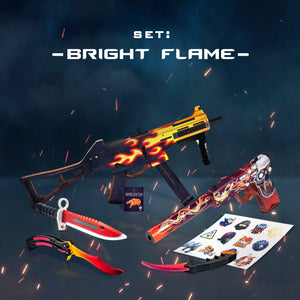 "Gift for gamers Wooden set ""BRIGHT FLAME"" Free gifts!"