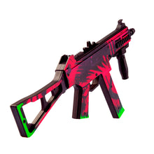Load image into Gallery viewer, UMP-45 Active | Neon Revolution Automatic Assault Rifle / Wooden Souvenir / Wooden Replica / shoots rubber bands