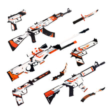 "Load image into Gallery viewer, A automat Active АК-47 of the favorite game terrorist team in color ""Asiimov"" / Wooden replica / shoots rubber bands"