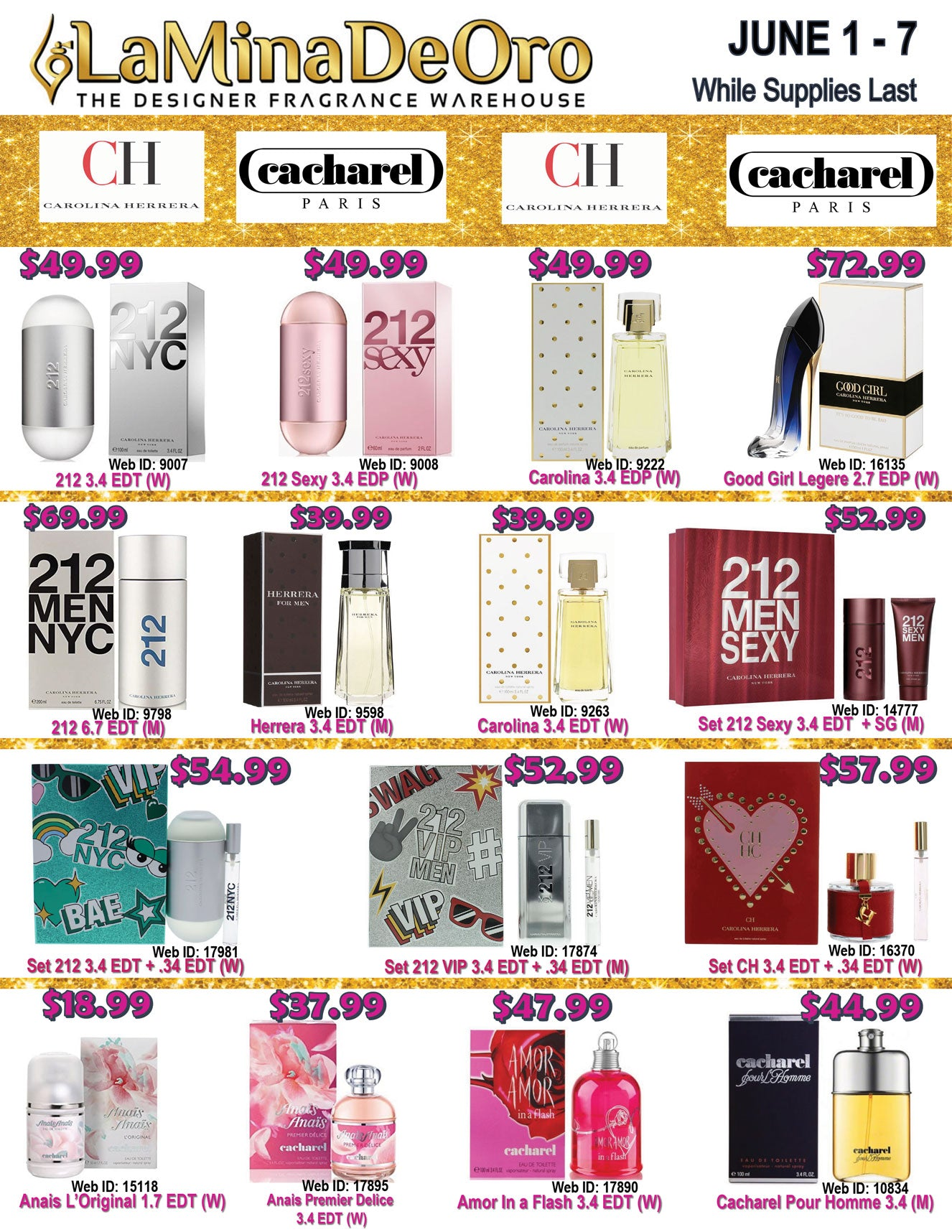 La Mina De Oro Pefume Weekly Fragrance Specials, Carolina Herrera fragrances and Cacharel perfume on sale
